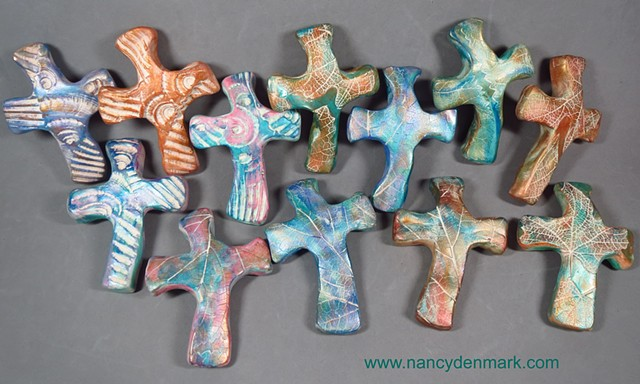 polymer clay hand crosses by Nancy Denmark