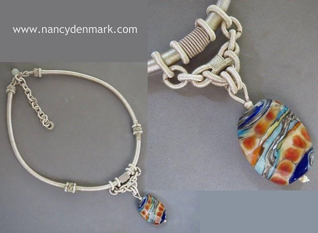 cord neckpiece with lampwork glass bead