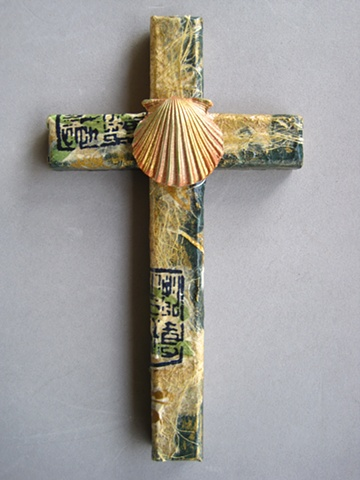 collage wall cross with baptismal symbol polymer clay scallop shell Nancy Denmark Patti Reed