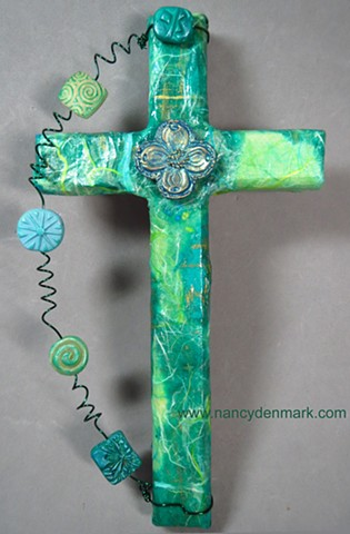 dogwood quatrefoil symbol on collage cross by Nancy Denmark, Patti Reed