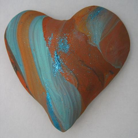 polymer clay hand held heart by Nancy Denmark
