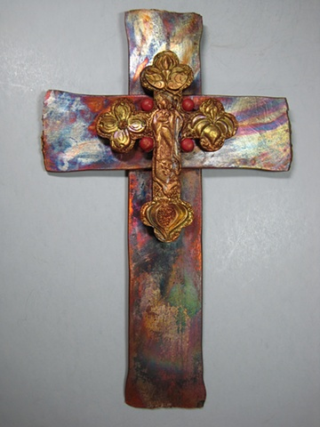 copper wall cross with polymer clay good shepherd symbolism
