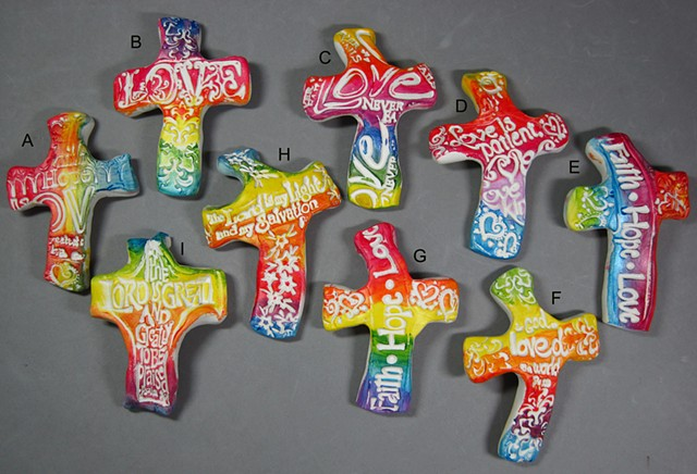 De Colores! polymer clay hand crosses made by Nancy Denmark