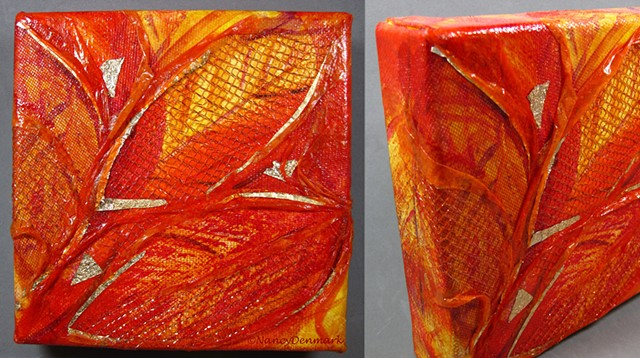 """""""Leaves"""" mixed media canvas by Nancy Denmark"""