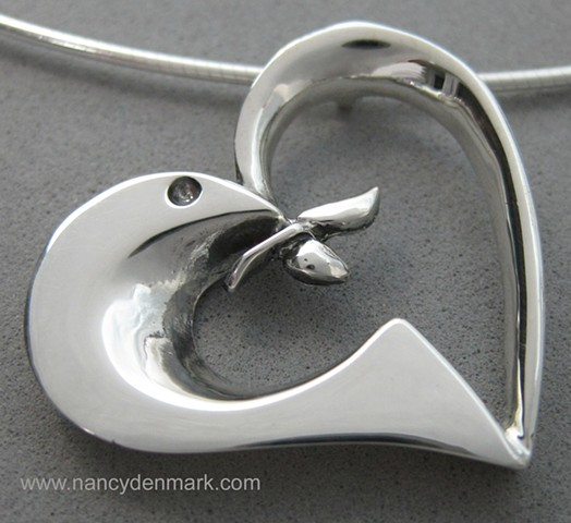 sterling silver peace dove in heart pendant © Nancy Denmark