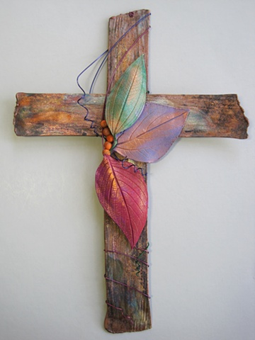 COPPER WALL CROSS WITH 3 POLYMER CLAY LEAVES
