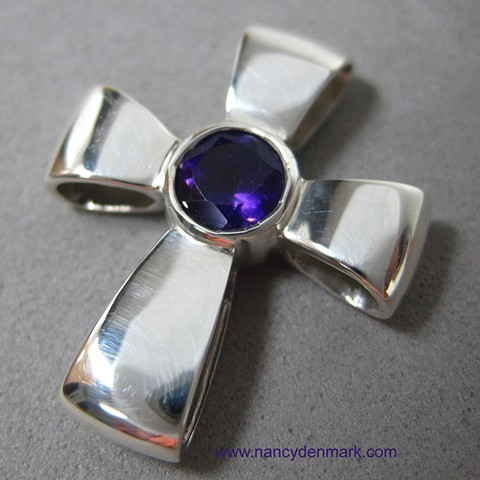 Gift of God sterling silver cross with faceted amethyst © Nancy Denmark