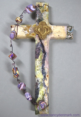 bursting pomegranate wall cross by Nancy Denmark and Patti Reed