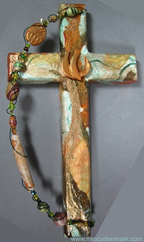 descending dove on collage cross by Nancy Denmark