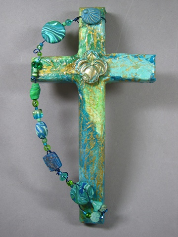 collage cross with lily symbol by Nancy Denmark Patti Reed