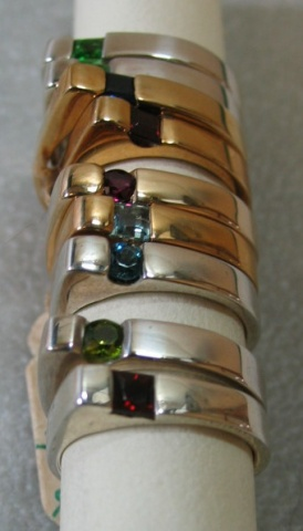 R6 RINGS MANY GEMS IN SILVER and GOLD