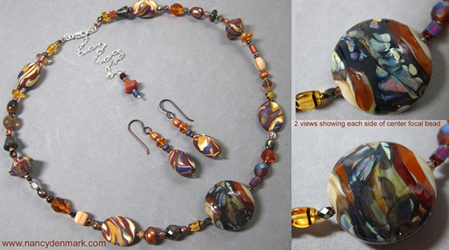 polymer clay and lampwork glass beaded necklace set by Nancy Denmark