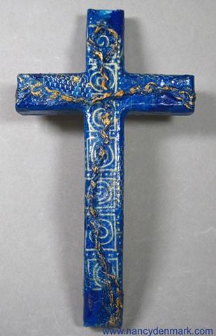 fiber crucifix on collage wood cross by Nancy Denmark Patti Reed