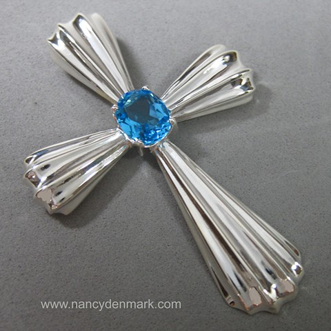 sterling silver fluted cross with blue topaz © Nancy Denmark