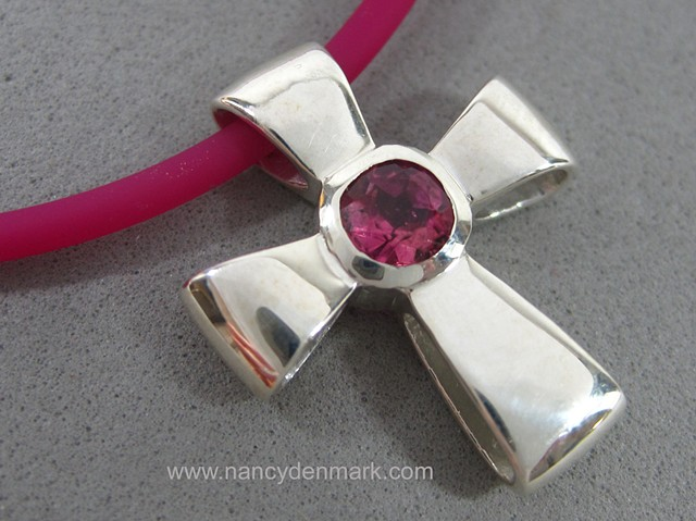 sterling silver ribbon cross with faceted pink tourmaline © Nancy Denmark