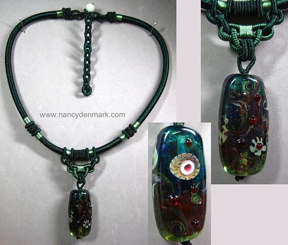 lampwork glass bead pendant on macrame style cord