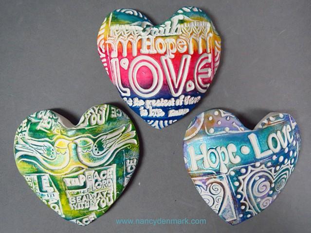 3 hand hearts made by Nancy Denmark