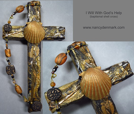 baptismal shell cross made by Nancy Denmark and Patti Reed