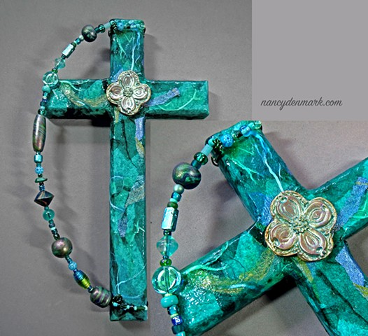 teal wall cross with dogwood symbolism by Nancy Denmark