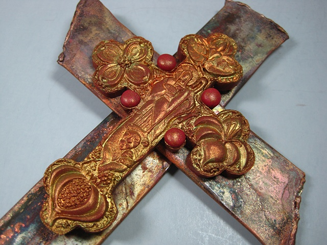 good shepherd themed cross made of copper and polymer clay by Nancy Denmark
