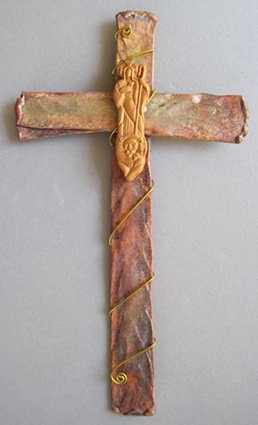 polymer clay good shepherd on copper cross