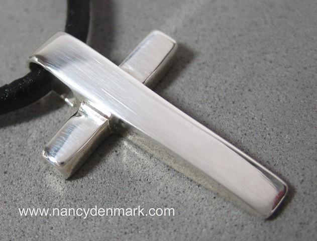 sterling silver wedge cross pendant © Nancy Denmark