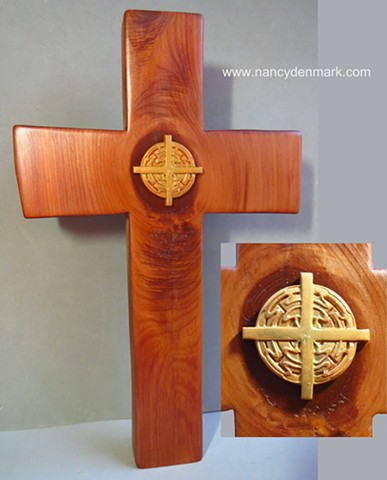 freestanding collaborative cross made by Margaret Bailey and Nancy Denmark