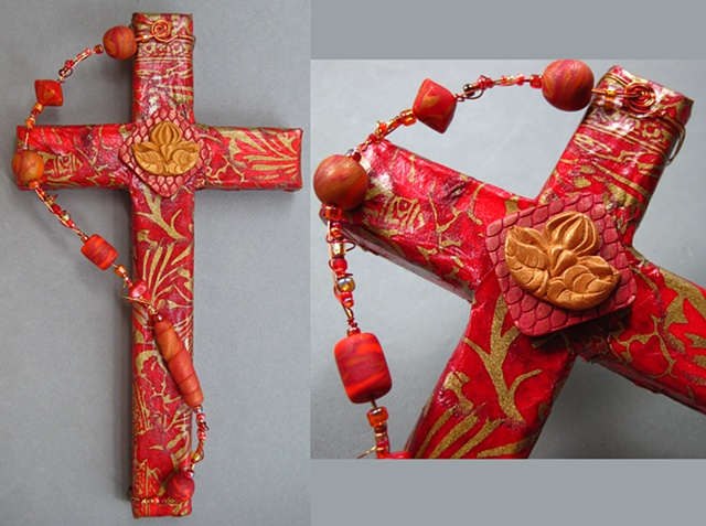 beaded collage cross with lotus symbol