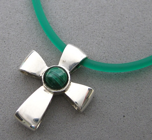 sterling silver ribbon cross with malachite cabochon © Nancy Denmark