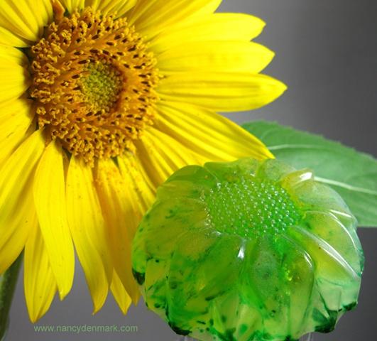 Lemon Spearmint Sunflower Soap handcrafted by Nancy Denmark