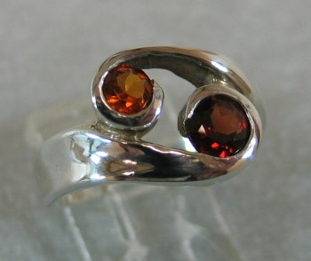 GARNET W/ CITRINE IN STERLING RING