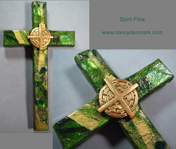 collage wall cross by Nancy Denmark and Patti Reed with Spirit Flow design