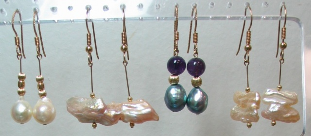 14K and pearl earrings