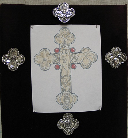 PECTORAL CROSS DRAWING WITH QUATREFOIL PENDANTS