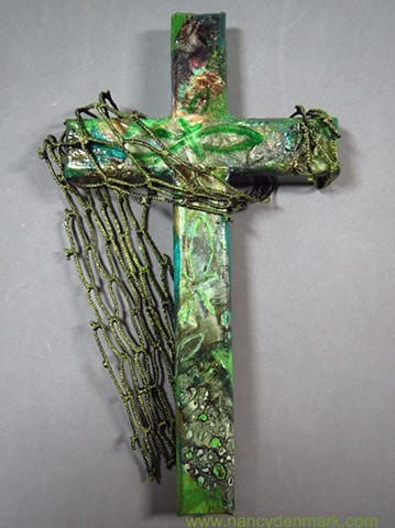 Cast Your Nets Collage Cross by Nancy Denmark