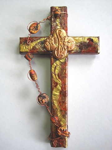 FEED MY SHEEP  BROWN & GOLD COLLAGE CROSS