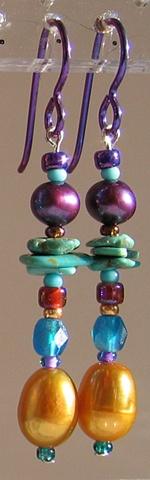 dangle beaded earrings by Nancy Denmark