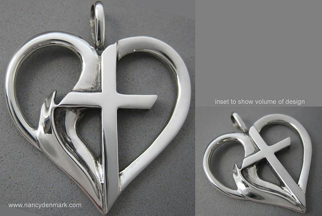 sterling silver heart pendant with cross & flame © Nancy Denmark