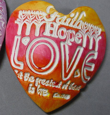 """""""handful of love"""" heart made of polymer clay by Nancy Denmark"""