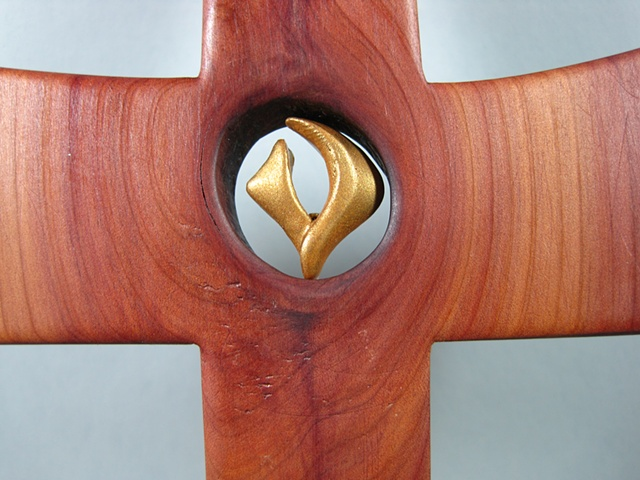 FILLED WITH THE SPIRIT POLYMER CLAY SYMBOL IN CEDAR CROSS CLOSE UP VIEW
