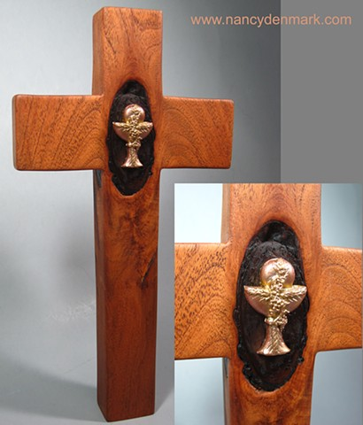collaborative mesquite and polymer clay cross by Nancy Denmark and Margaret Bailey