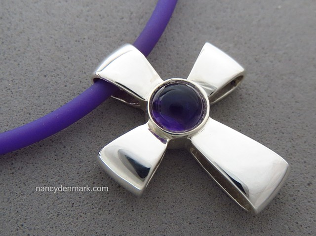 Gift of God Cross symbolism ©Nancy Denmark ~ sterling with amethyst