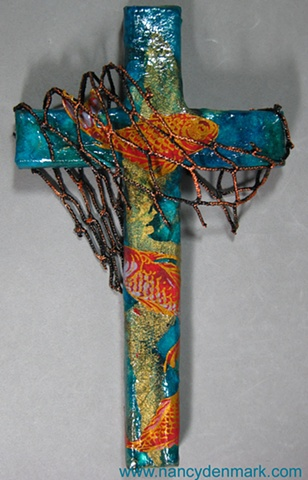 Cast Your Nets collage cross by Nancy Denmark & Patti Reed