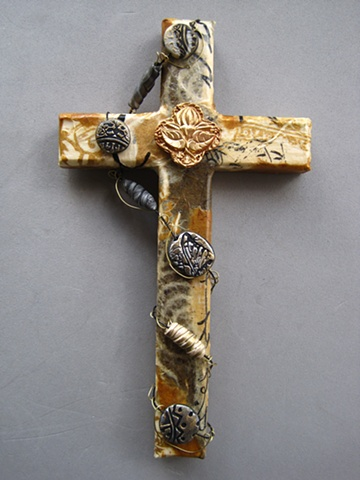 collage wall cross with lotus symbol beads wire Nancy Denmark