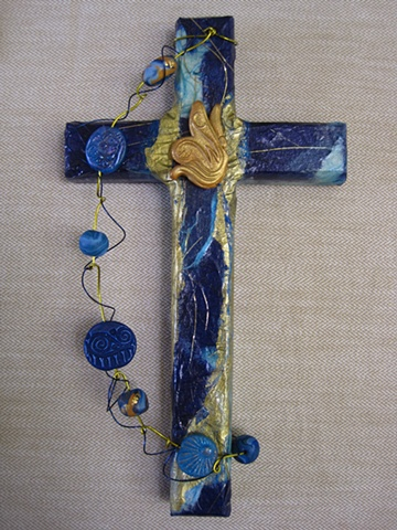 Collage wall cross with polymer clay ECW Butterfly by Nancy Denmark & Patti Reed