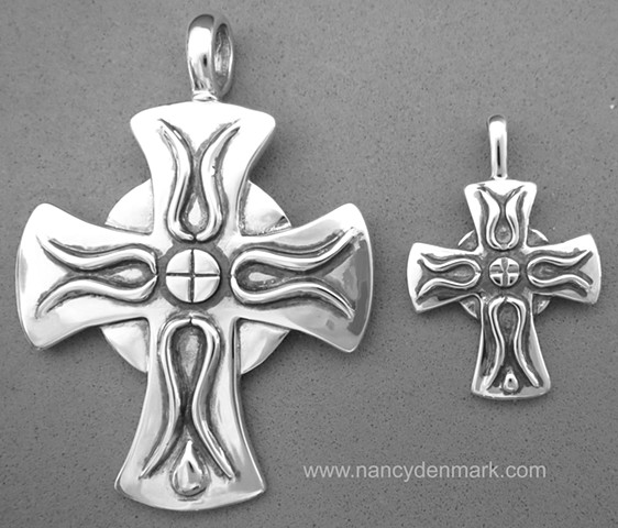 Cross of Iona sterling silver pendants © Nancy Denmark