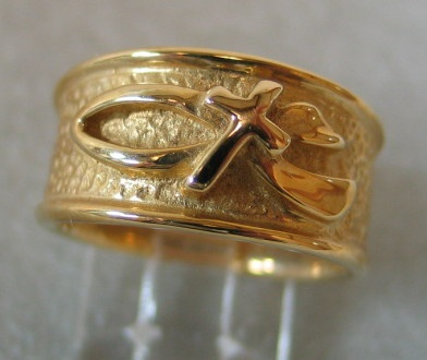 Ichthus and cross band ring © Nancy Denmark