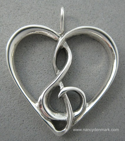 heart with treble clef sterling silver jewelry © Nancy Denmark