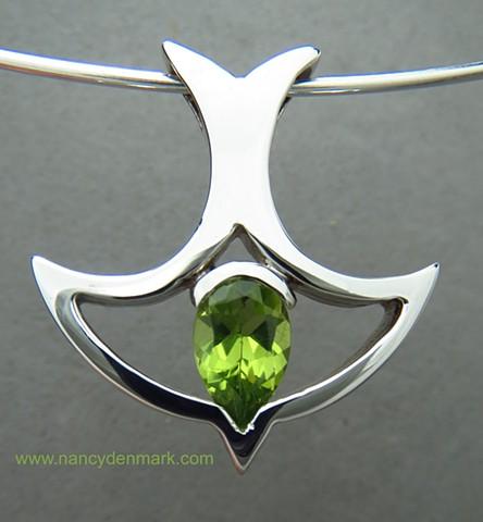sterling silver descending dove pendant with peridot © Nancy Denmark