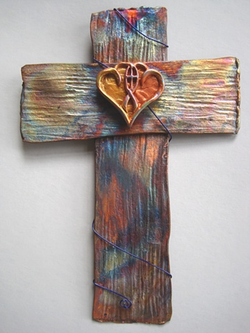 copper wall cross with polymer clay marriage symbol by Nancy Denmark